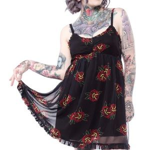 3X Sourpuss Black Roses Dress